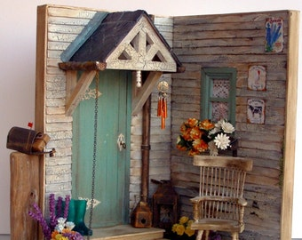 """Hand-made miniature Scene 1:12 scale """"An autumnal porch """""""