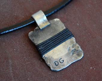 THICK mens pendant with INITIALS,sterling silver pendant, sterling silver necklace,geometric,rustic,modern,unique,gift for man,fathers day