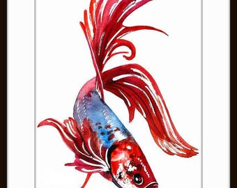 Fish Art Print,ORIGINAL Watercolor Fish Painting,Home decor ,Tara Tet