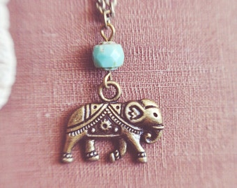 bohemian turquoise elephant necklace