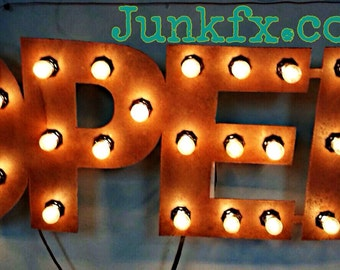 Flat Metal Lighted OPEN Sign
