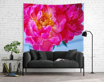 Bright Pink Peony Backdrop - Baby Nursery Decor - Little Girl's Room - 68x80 - Floral Photography - Gardener's Dream Decor