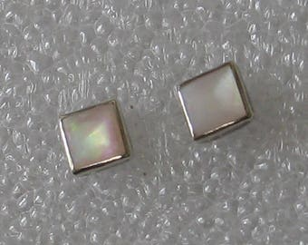 5mm Square Shell   Sterling Silver  Post Earrings