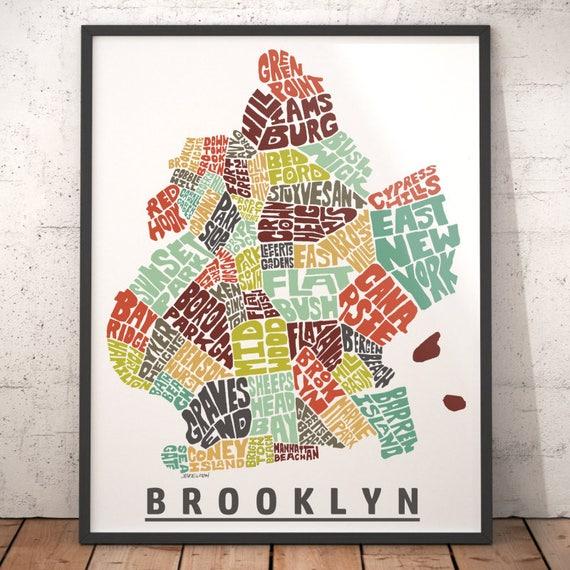 Brooklyn map art Brooklyn art print Brooklyn typography map