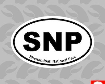 Shenandoah National Park Oval Sticker Self Adhesive Vinyl Euro SNP - C4363