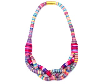 Braided Colorful Textile Rope Necklace For Women, Fabric Statement Necklace, Unique Jewelry Gift For Her