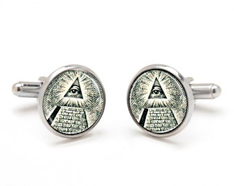 Illuminati Jewelry - All Seeing Eye Cufflinks - Eye of God Symbol on Money - Eye of Providence Jewelry - Cool and Unique Gifts for Men