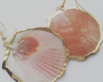 Gorgeous, SHELL, earrings, golden trim, gold electro plated, peach, Ocean, sealife, beach, by NewellsJewels on etsy