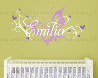 Butterfly and Custom Name Wall Decal, Butterfly Nursery Decal, Butterfly Wall Decal for Baby Nursery, Kids or Childrens Room 039