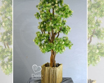 Artificial bonsai decorative tree with flowers