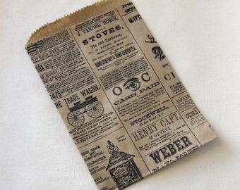 50 Mini 4x6 Newsprint Bags, Kraft Newspaper Print, Small Flat Paper Bags - 4 3/4 x 6 3/4 inch actual size