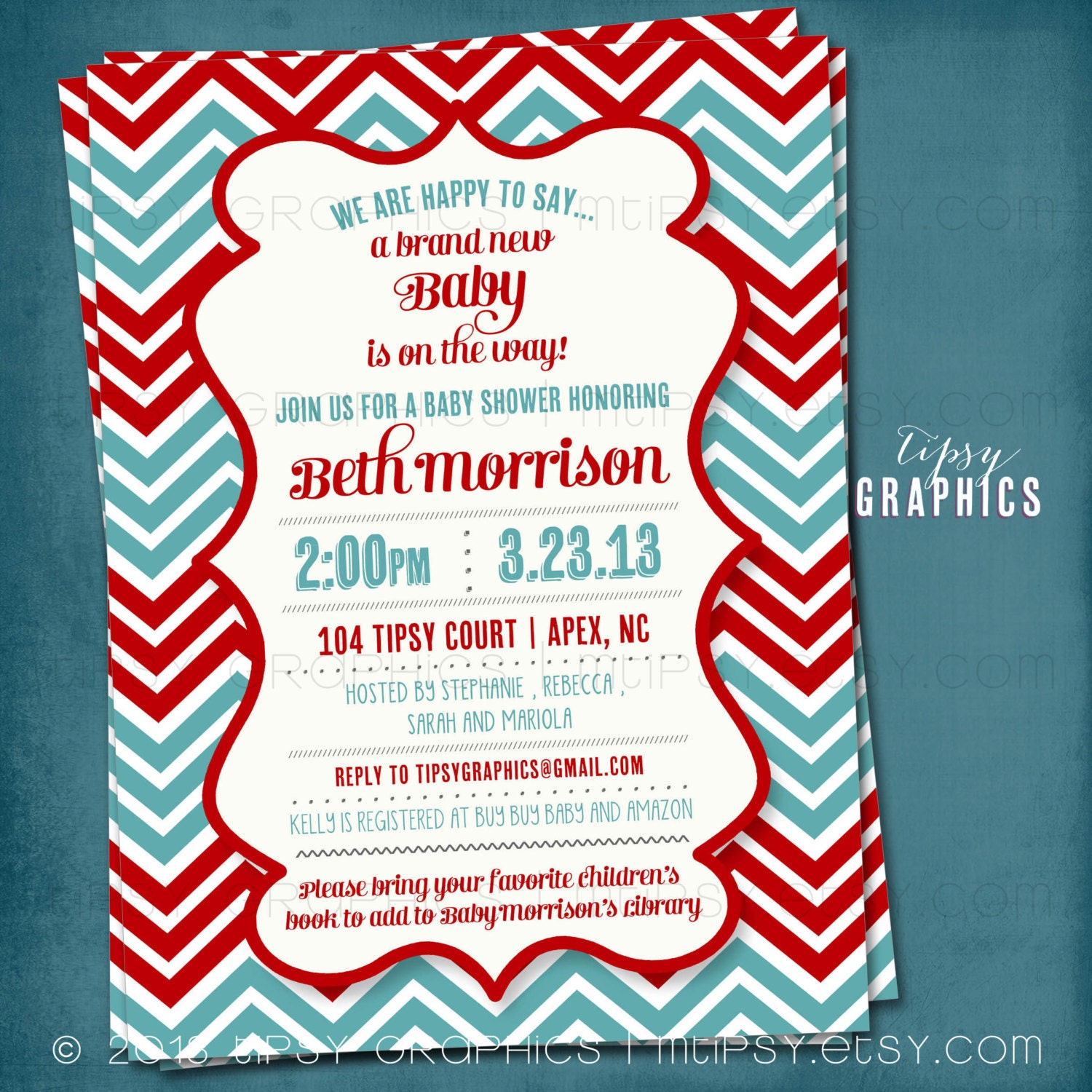 Red & Teal Gender Neutral Chevron Baby Shower Party Invitation