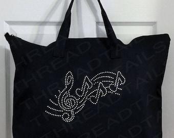 Music Tote Bag | Musical Gift | Treble Clef | Black Zipper Tote | Band Teacher Gift | Rhinestone Treble Clef, 3 Notes, Fancy Staff Bling Bag