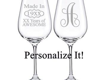 Birthday Wine Glass, Monogram Wine Glass, 30th Birthday, 40th Birthday, 50th Birthday, 60th Birthday, Adult Birthday Gift, Woman's Birthday