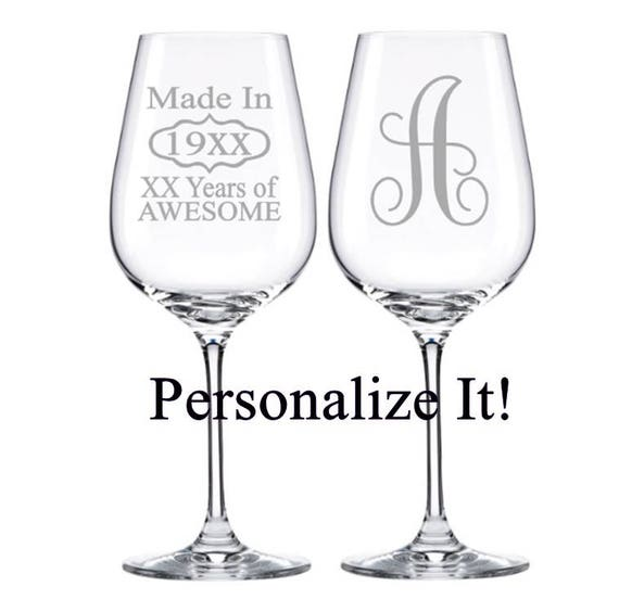 Birthday Wine Glass Monogram Wine Glass 30th Birthday 40th