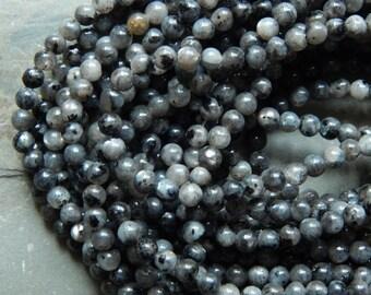 4mm Larvikite Round Polished Semi-Precious Beads, 15 Inch Strand (INDOC74)