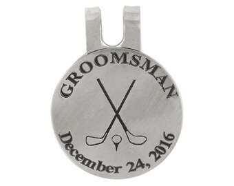 Personalized Monogrammed Wedding Groomsman Golf Marker, Golf Ball Marker, Pocket Token, Golf Accessory Golf Hat Clip with Magnetic Coin