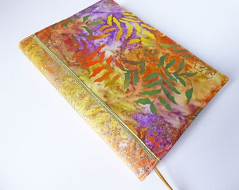 A5 'Batik' Planner Cover, Diary & Cover, Removable Book Cover, Fits Hobonichi Cousin, Batik Cotton, Gold Glitter Ribbon, OOAK, UK Seller
