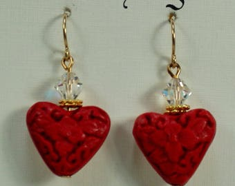 Red Cinnabar Carved Heart Earrings, Red Flower Earrings, Cinnabar Crystal Dangle Earrings, Red Heart Earrings Under 15