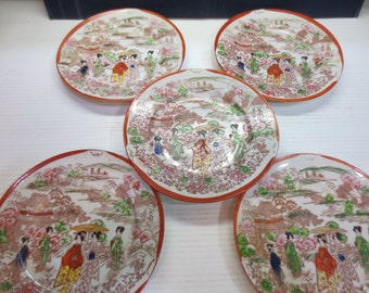 Set of 5 Vintage Japanese Geisha Girl Geisha Ware Saucer / Plate ~ Geisha Girls In A Garden