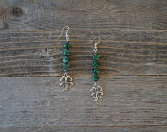 Green and Silver Four Leaf Clover Earrings, Irish Earrings, Green Beaded Earrings, Shamrock Earrings, St. Patrick's Day, Green and Silver