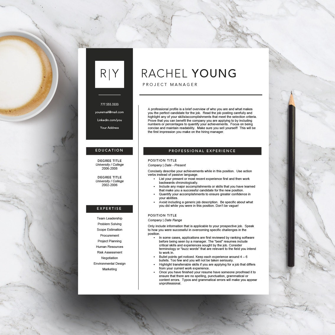 Modern Resume Template For Word 1 3 Page Resume Cover: Modern Resume Template For Word And Pages Includes 1 2 & 3