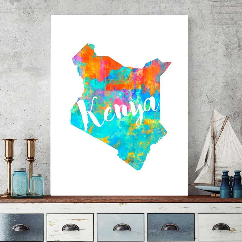 Kenya Map Kenya Printable Map Kenya Wall Art Decor