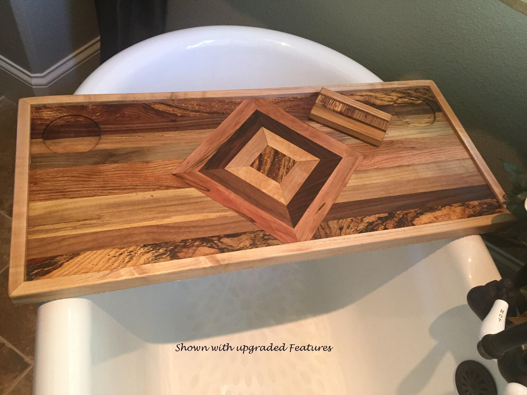 Wood Bath Tray. Bath Caddy Bathtub Shelf / Bathtub Caddy. Gift For Her.  Luxury Bathtub Tray.