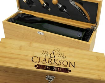 Personalized Wine Box, Ceremony Wine Box, Wooden Wine Box, Wine Gifts for Couple, Engraved Wine Box Wedding, Wine Box with Latch and Tools