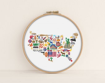 America Cross stitch pattern / Printable PDF Pattern / America Embroidery Pattern / Patriotic cross stitch / Map Cross Stitch