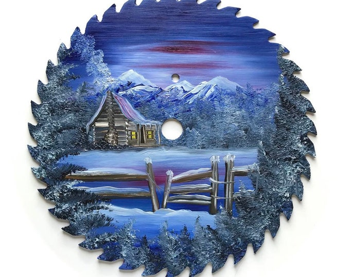 Hand Painted Saw Blade Mountain Winter Scenery Cabin and Fence