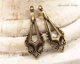 Antiqued Brass Ox Edwardian Art Deco Earring Dangles Drops Pendants - 4