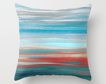Throw Pillow Cover Teal Grey Aqua Red Abstract Modern Home Decor Living room bedroom accessories Cushion Cover Decorative Pillow Cover