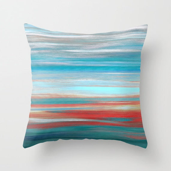 Throw Pillow Cover Teal Grey Aqua Red Abstract Modern Home