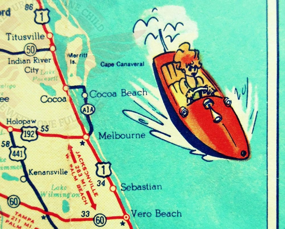 Cocoa beach map art map art gifts cocoa beach gifts map art zoom sciox Gallery