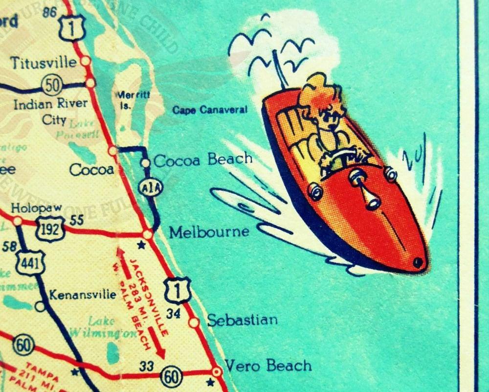 vintage florida map print