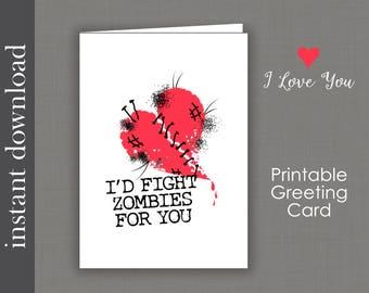 Zombie Anniversary, Printable Card, Zombie Card, funny anniversary, zombie printable, funny zombie, zombie friend, zombie love, Valentine