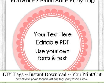 EDITABLE Printable Party Favor, Coral Scallop Party Tag, INSTANT Download, Use as Cupcake Topper, DIY Party Tag, Baby Shower, Birthday Tags