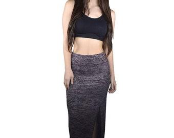 Slim fit side slit maxi skirt