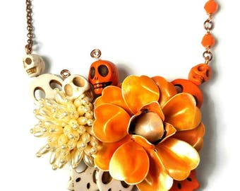 Orange  Skull Statement Necklace, Skulls, Dia de Los Muertos, Day of the Dead Jewelry, Sugar Skull Necklace, Upcycled Jewelry