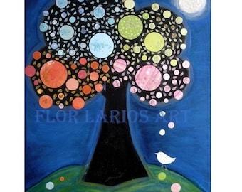 Arbol Nocturno - Baum Painting Print von FLOR LARIOS (6,5 x 20 cm)