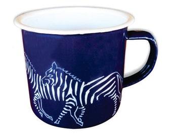 Mug, Enamelware (Tin), Royal Blue Hand Decorated with running Zebras