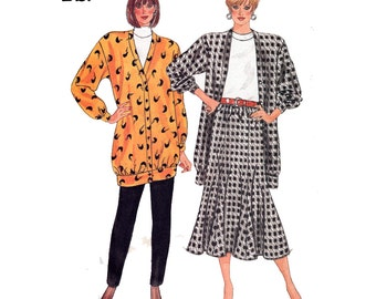 UNCUT Fast & Easy Jacket with Flared Gored Skirt and Tapered Pants Sewing Pattern 80s Size 12 14 16 Bust 34-38 (87-97 cm) Butterick 4218 G