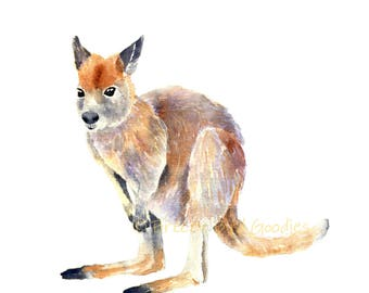 Wallaby Print, Watercolor Wallaby Print, Australian Gifts, Australian Native, Australian Animal Watercolor, Baby Animal Print