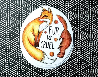 Vegan Stickers (Fur is Cruel) / Colourful / 18 Stickers