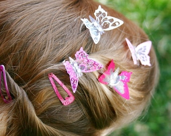 Rainbow Butterfly Hair Clips- Woodland Fairy Gems or Bridal hair accessory