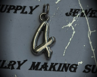 Number 4 Sterling Silver Plated Charm
