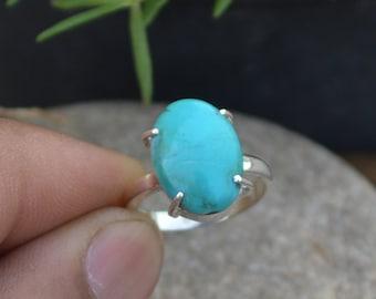 Arizona Turquoise Gemstone Ring- Solitaire Ring-Turquoise Silver Ring-925 Sterling Silver Ring- Turquoise Handmade Gift Ring- Prong Set Ring