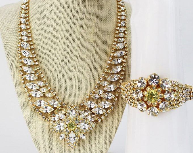 Rhinestone Statement Necklace and Bracelet - Vintage 1980s Ivana Trump White and Yellow Rhinestone Set - Bridal Jewelry
