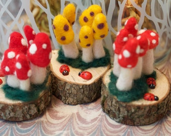 Ladybug Fairy Garden Mushroom Cluster Needlefelted Sculpture Miniature Nursery Decor Shower Gift Red Poppy Yellow Mixed Media Folk Art Wood